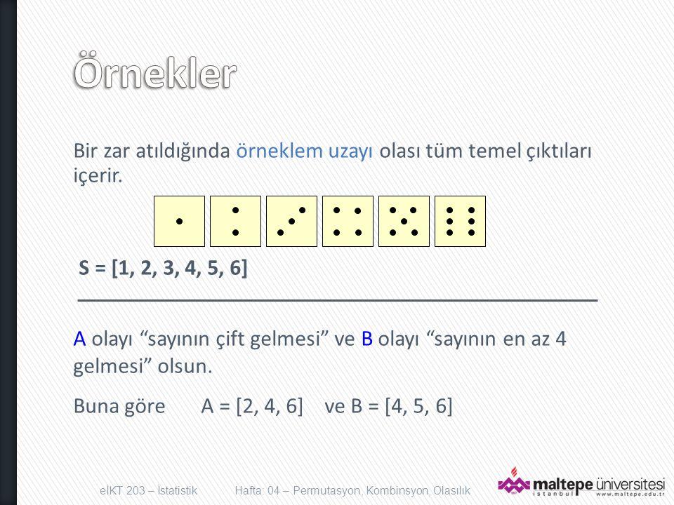 Örnekler Bir zar atıldığında örneklem uzayı olası tüm temel çıktıları içerir. S = [1, 2, 3, 4, 5, 6]